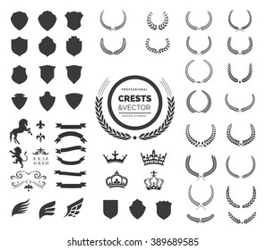 Luxury Heraldic Crests Logo Element Set. Vintage laurel wreaths, Crown, Ribbon and Wing icons