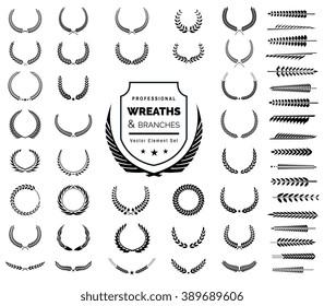Luxury Heraldic Crests Logo Element Set. Vintage laurel wreaths icons