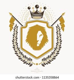 Luxury heraldic vector emblem template. Vector blazon.