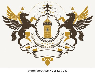 Luxury heraldic vector emblem template. Vector blazon created using graceful Pegasus illustration and ancient tower.
