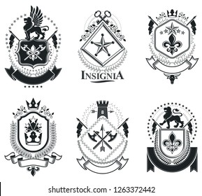 Luxury heraldic vectors emblem templates. Vector blazons. Classy high quality symbolic illustrations collection.