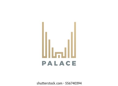 Luxury Hotel Palace Logo design vector template Linear style. Real Estate Construction Logotype concept icon.
