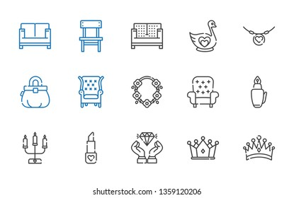 luxury icons set. Collection of luxury with crown, diamond, lipstick, candelabra, fountain pen, armchair, necklace, purse, swan, sofa, chair. Editable and scalable luxury icons.