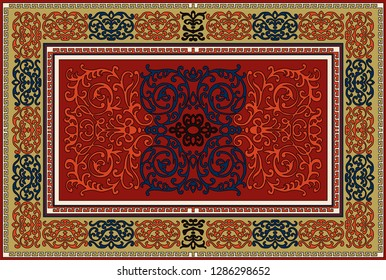Luxury Indian Rug. Old Turkish kilim. Vintage Persian carpet, tribal texture. Ethnic textile. Easy to edit and change a few colors by swatch window. Perfect abstract design. Vector illustration frame.