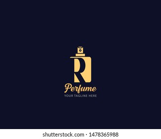 Luxury Initial alphabet Letter R Perfume perfumery logo design vector illustration can be used for cosmetics spray beauty fragrance business eps 10 fully editable