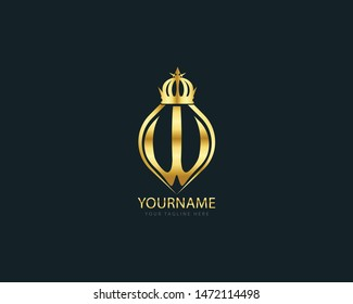 Luxury Initial Letter W Perfume or Hotel, awesome round shape with crown and alphabet letter W  golden color and blue background.