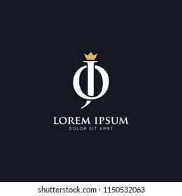 Luxury initial OJ or JO logo. Vector logo template