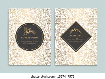 Luxury invitation card design with gold vintage ornament template. Can be used for background and wallpaper. Elegant and classic vector elements great for decoration.