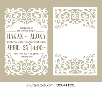 Luxury invite card. Laser cutting white paper on beige background. Floral pattern cut out. Frame with place for wedding text invitation. Trendy elegant template. Edge design lace die. Romantic style