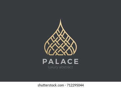 Luxury Islamic Dome Palace Logo design vector template. Real Estate Resort apartments Logotype Linear style.