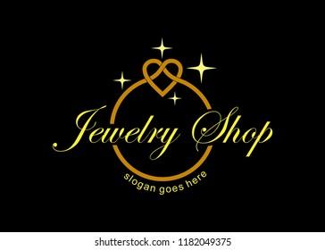 luxury jewelry logo template, jewelry shop logo