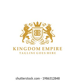 luxury Kingdom logo design vector with two lions and emblems for big companies and hotels