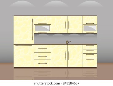 Luxury kitchen room interior with bright wooden texture cabinets and drawers with sink and faucet. beige tiles on wall. Realistic design. vector art image illustration