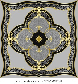 Luxury leopard shawl pattern with classic floral gold decorative elements. Square composition, luxurious background, scarf and textile print, interior tile.
