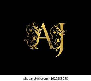 Luxury  letter A, J and AJ  Vintage Gold Floral Logo Icon, overlapping monogram logo, elegant luxury gold color on black background. CLassy Letter Logo Icon.