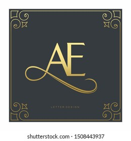 luxury letter AE logo template in gold color. Royal premium logo template vector