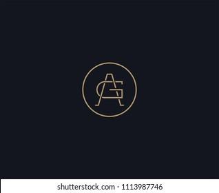 luxury letter AG logo design element
