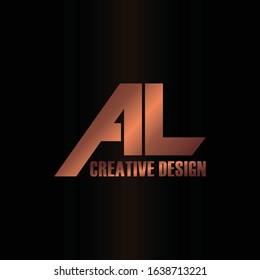 Luxury letter AL logo icon design vector