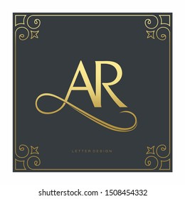 luxury letter AR logo template in gold color. Royal premium logo template vector