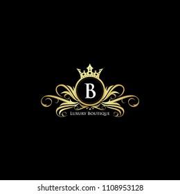 Luxury Letter B Gold Queen Design Logo.  Elegant Gold logo Design Suitable for boutique,restaurant, wedding service,  hotel or business identity.