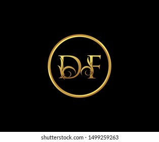 Luxury letter D and F, DF, Gold Logo Icon, classy gold letter monogram logo icon suitable for boutique,restaurant, wedding service, hotel or business identity.
