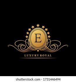 Luxury  letter E logo design concept  geometric golden  star shapes  for business luxuries, boutique, hotel, fashion, initials, and more brand identity.