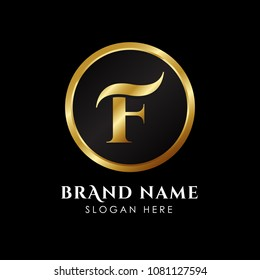 luxury letter F logo template in gold color. Royal premium logo template vector