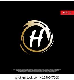 luxury letter h inside enzo zen logo. modern icon, template design