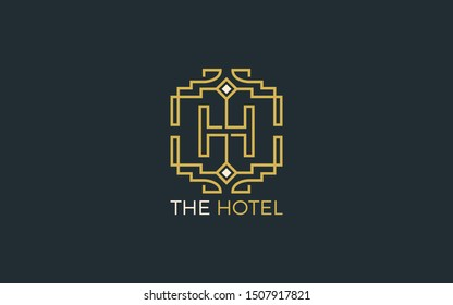Luxury Letter H logo with gold color
