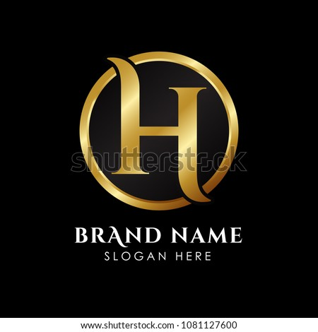 7a61162e231 luxury letter H logo template in gold color. Royal premium logo template  vector