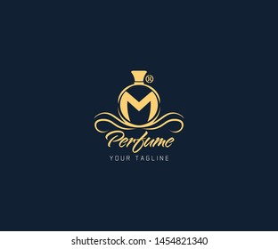 Luxury Letter M perfume logo design and also symbol and icon. this logo is designed for your perfume fragrance, smell, essence, scent.