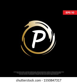 luxury letter p inside enzo zen logo. modern icon, template design