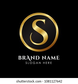 luxury letter S logo template in gold color. Royal premium logo template vector