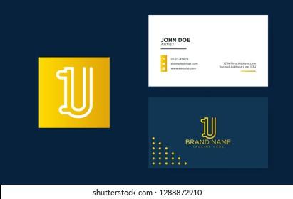 Luxury letter U logo with a clean business card. Elegant identity design. Linear creative monogram logo - Vector