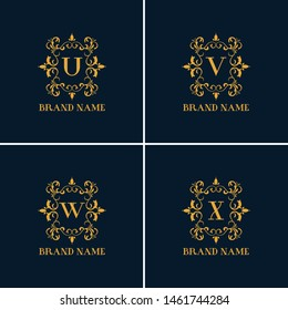 Luxury Letter U to X logo. This logo icon incorporate with round flower ornament and letter. It will be suitable for Restaurant, Royalty, Boutique, Cafe, Hotel, Heraldic, Jewelry, Fashion.
