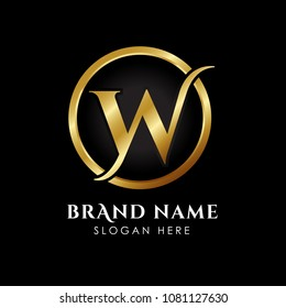 luxury letter W logo template in gold color. Royal premium logo template vector