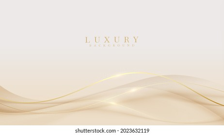 Luxury light brown abstract background combine with golden lines element. Illustration from vector about modern template design.