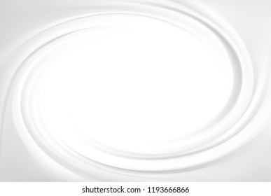 Luxury light silver color fond of soft shiny eddy motion rippled curvy sour kefir. Dairy ring volute spraying pattern surface. Closeup view with space for text in glowing center