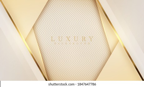 Luxury light yellow pastel abstract background combine with golden lines element, Illustration from vector about modern template deluxe design.