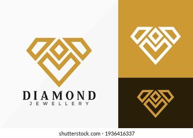 Luxury Line Art Diamond Logo Vector Design. Abstract emblem, designs concept, logos, logotype element for template.