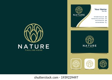 luxury line art nature logo design and business card