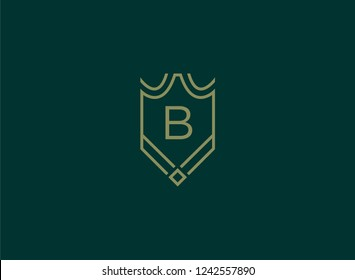 Luxury linear shield monogram letter B logo