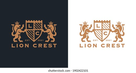 Luxury Lion crest heraldry logo. Elegant gold heraldic shield icon. Premium brand identity emblem. Royal coat of arms company label symbol. Modern vector illustration.