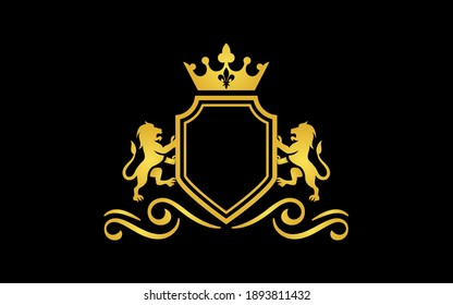 Luxury lion crest logo - royal lion vector template For Business, Community, Industrial, Foundation, Security, Tech, Services Company.