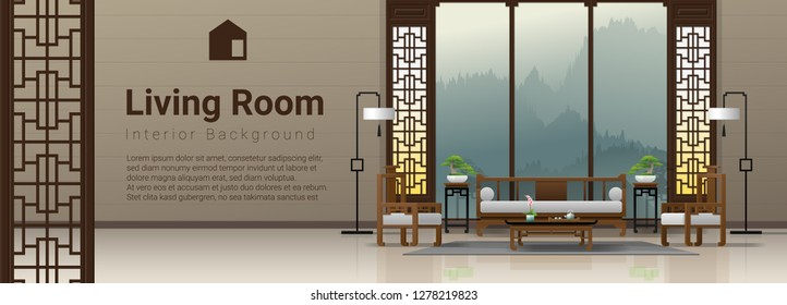 Luxury living room interior background with furniture in Chinese style , vector , illustration