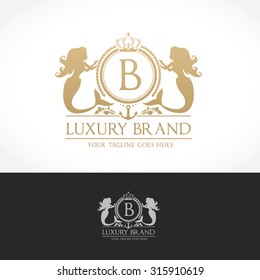 Luxury logo with B letter Crest Ornament and Mermaid symbol
