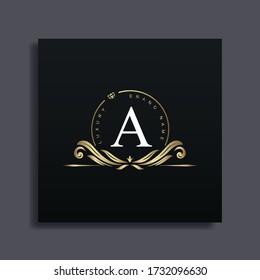 Luxury Logo Design with monogram letter A ,golden color, luxury flourish decorative style, vector illustration.