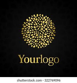 Luxury logo. Elegant symbol with golden leafs.