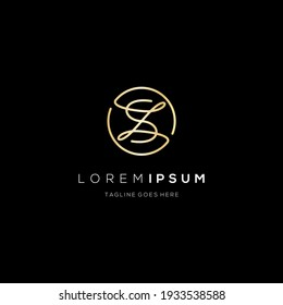 Luxury logo initial Letter S Z G icon gold color on black background