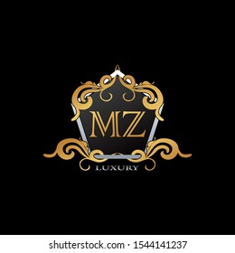 Luxury Logo Letter M,Z, MZ. Elegant logo design concept letter  MZ on hexagon geomtric frame with floral element for boutique, hotel, fashion and more brands.